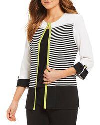 Ming Wang - Stripe Jewel Neck Jacket - Lyst