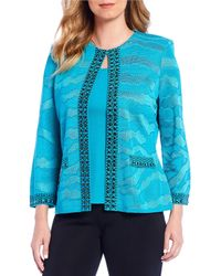Ming Wang - Studded Trim Textured Knit Washable Jacket - Lyst