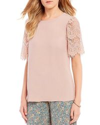 June & Hudson - Lace Sleeve Top - Lyst