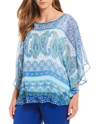 Ruby Rd. - Plus Size Embellished Round Neck Printed Yoryu Butterfly Top - Lyst