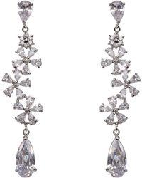 Nina Mandy Flower Cluster Long Cz Drop Earrings - Metallic