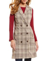 Skies Are Blue - Plaid Double Breasted Button Front Vest - Lyst