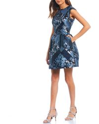 Vince Camuto - Sleeveless Patchwork Print Jacquard Fit Flare Dress - Lyst