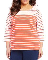 eb5d3470534 Lyst - Ruby Rd Plus Size Coastal Stripe Long Roll-tab Sleeve Lace Up ...