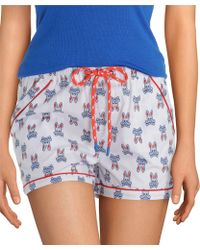 Psycho Bunny Printed Woven Sleep Shorts - Blue
