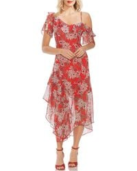 Vince Camuto Floral-print Asymmetrical Dress - Red