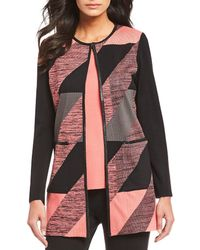 Misook - Geometric Faux Leather Trim Colorblock Jacket - Lyst