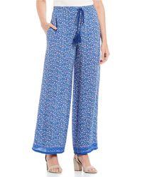 Chelsea & Violet Floral Print Drawstring Pant - Blue