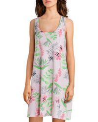 Hue Tique Floral Print Knit Chemise - Multicolor
