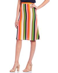 Gianni Bini Candace Light Weight Crepe A-line Rainbow Stripe Skirt - Red