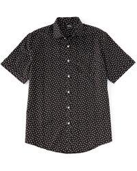 Murano - Liquid Luxury Sateen Origami Print Short Sleeve Woven Shirt - Lyst