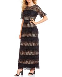 Belle By Badgley Mischka - Lace Column Gown - Lyst