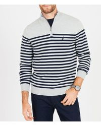 Nautica - Big & Tall Striped Quarter-zip Mock Neck Pullover - Lyst