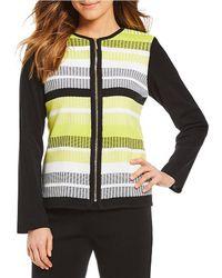 Ming Wang - Jewel Neck Multi Stripe Jacket - Lyst