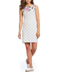 Joules - Riva Floral Printed Polka Dot Sleeveless Dress - Lyst