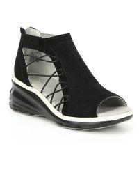 Jambu Naomi Suede Wedge Sandals - Black