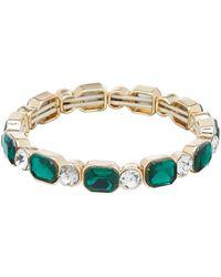 Anne Klein Gold Green Stretch Bracelet
