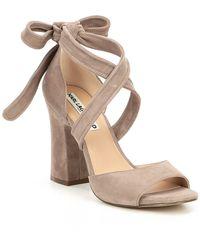 Karl Lagerfeld - Racha Suede Ankle Tie Block Heel Dress Sandals - Lyst