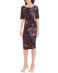 Adrianna Papell - Printed Rouched Sheath Midi Dress - Lyst