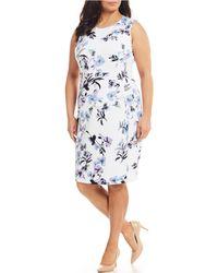 7d21779ec77 Calvin Klein - Plus Size Floral Scuba Sleeveless Sheath Dress - Lyst