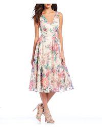 Eliza J Floral Print Illusion Overlay A-line Midi Dress - Pink