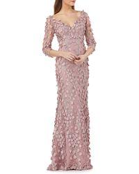 Carmen Marc Valvo Infusion V-neck Fleurette Gown - Pink