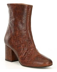 Free People Cecile Croco Print Leather Block Heel Booties - Brown