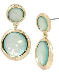Kenneth Cole - Teal Shell Double Drop Earrings - Lyst