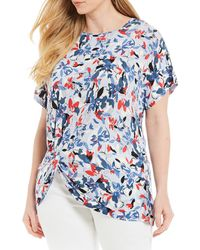 0359e2a187b3df Lyst - Jones New York Signature Plus Size Sleeveless Printed Top in Pink