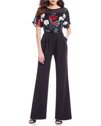 Eva Franco - Embroidered Blouson Jumpsuit - Lyst