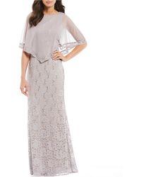 e072a6dd23d Lyst - Eloquii Studio Jersey Capelet Gown in White