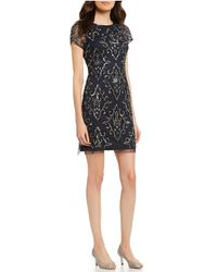 Adrianna Papell - Petite Size Beaded Illusion Sheath Dress - Lyst