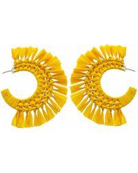 Panacea - Yellow Raffia Hoop Statement Earrings - Lyst