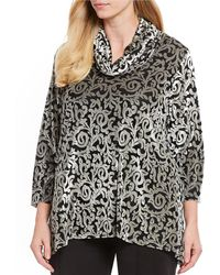 Ruby Rd. - Plus Size Cowl Neck Scroll Burnout Velvet Top - Lyst