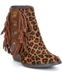 Volatile - Laine Suede And Leopard Print Wedge Pony Hair Booties - Lyst