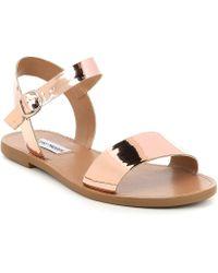 Steve Madden - Donddi Metallic Banded Flat Sandals - Lyst