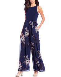 Vince Camuto Sleeveless Floral Print Tie Waist Chiffon Jumpsuit - Blue