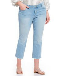 Jessica Simpson - Plus Size Arrow Cropped Frayed Hem Straight Leg Jeans - Lyst