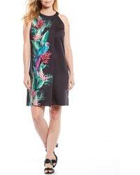 Tommy Bahama Tropical Paradiso Parrots Print Halter Neck Shift Dress - Black