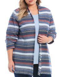 Ruby Rd. - Plus Size Stripe Jacquard Open-front Long Cardigan - Lyst