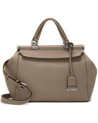 Lyst - Ferragamo Carla Large Pebbled Bucket Bag in Gray b0418508da12c