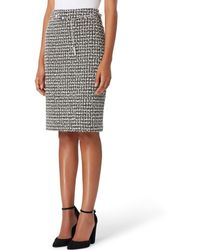 Tahari - Chain Belted Boucle Pencil Skirt - Lyst