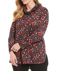 Jones New York Plus Size Printed Cowl Neck Tunic - Multicolour