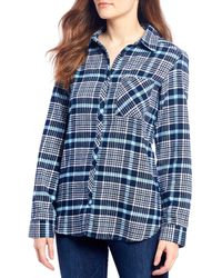Columbia Simply Put Ii Flannel Plaid Button Front Shirt - Blue