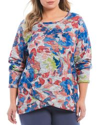 Ruby Rd. - Plus Size Watercolor Floral Print Marled Slub Terry Crossover Hem Pullover - Lyst