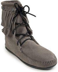Minnetonka Double Fringe Suede Tramper Boots - Gray