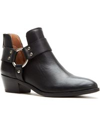 Frye - Ray Harness Leather Back Zip Block Heel Booties - Lyst