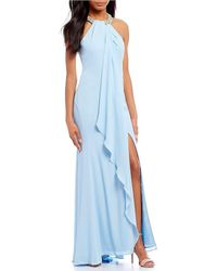 CALVIN KLEIN 205W39NYC - Slit Ruffle Front Beaded Halter Gown - Lyst