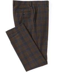 Murano Evan Extra Slim-fit Plaid Brown Suit Separates Dress Pants