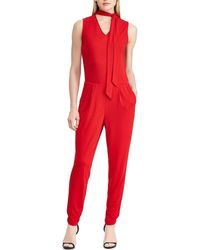 1d6f9dfddc2 Lyst - Lauren By Ralph Lauren Crepe Wide-leg Jumpsuit in Natural